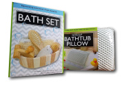 OscarNOtis Non-Slip Bathtub Pillow with Suction Cups With Essential Bath Set in Wooden Basket