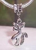 Beads Hut - Siamese Cat Kitty Pet Kitten Dangle Bead Gift for Silver European Charm Bracelet