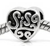 Beads Hut - Sis Sister Heart Love Family Gift fits Silver European Style Charm Bracelets