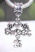 Beads Hut - Sweet 16 Sixteenth Birthday Heart Gift Large Dangle Bead fits Charm Bracelets