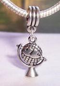 Beads Hut - Globe Map Travel World Earth European Dangle Bead for Silver Charm Bracelets