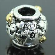 Beads Hut - Tribe Gold Heart Kids Friendship European Bead Fit Charm Bracelet 925 Sterling Silver