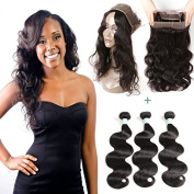 360 Lace Frontal Closure Brazilian Virgin Body Wave Hair Weave Lace Closure With 3 Bundles, Natural Looking, 22x 4x 2