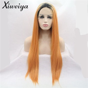 Xiweiya Ombre Orange Colour Long Silk Straight Synthetic Lace Front Wigs Dark Root 2 Tones Heat Resistant Hair For Women Replacement Wig + 2 pcs Wig Cap