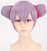 OYSRONG Women New Purple Short Straight Soft Touch Cosplay Lace Cap Wig With 2 Buns