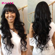 iVogue Hair Long Full Lace Human Hair Wigs with Bangs Virgin Brazilian Hair Body Wave Glueless Human Hair Full Lace Wig with Baby Hair for Black Women