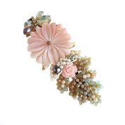 Hanabe Hermion Handmade Secret Garden Flower Mother of Pearl Beaded Hair Clip Hair Pin