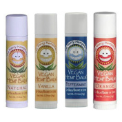 The Merry Hempsters Fabulous Lip Balm Variety Four Pack Including Vanilla, Orange, Peppermint & Natural Balms!