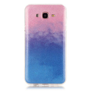 Moonmini Gradient Colour Sparkling Glitter Ultra Slim Fit Soft TPU Phone Back Case Cover for  for  for Samsung   Galaxy J7 (2015) - Pink + Blue