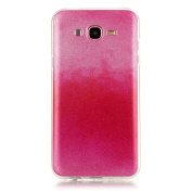Moonmini Gradient Colour Sparkling Glitter Ultra Slim Fit Soft TPU Phone Back Case Cover for for Samsung Galaxy J7 (2015) - Hot Pink
