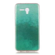 Moonmini Gradient Colour Sparkling Glitter Ultra Slim Fit Soft TPU Phone Back Case Cover for Alcatel OneTouch Pop 3 14cm - Mint Green