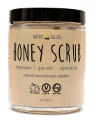 Honey Body Scrub by Native Allure with Organic Gotu Kola and Honey Enzymes - Reduces Cellulite & Acne - Rejuvenates the Skin - Gentle Exfoliation - Unclogs Pores and Moisturises with Natural Sugar