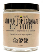 Whipped Pomegranate Body Butter by Native Allure with Papaya Enzymes, Pumpkin Seed Oil, and Shea Butter - Nutrient Dense with Skin Nourishing Vitamins - Moisturise with Natural and Organic Ingredients