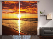 Hawaiian Decor Curtains by Ambesonne, Scenery Picture Print Of Beach Sunset Ocean Waves, Window Drapes 2 Panel Set for Living Room Bedroom, 108W X 90L Inches