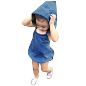 GBSELL Unisex Kids Baby Denim Hooded Sleeveless Romper Playsuit Outfits