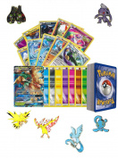 50 Assorted pokemon Card Pack Lot - No Duplication! With 1x Guaranteed GX Random Card, Foils, Rares, Random Pokemon Pin and a Pokemon Card Keychain