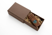 Walnutwood 16GB USB 2.0 Flash Drive - Wildwood Body - Inlaid Mother of Pearl Love Heart Design - With Handmade Paperbox - Filled with Raffia Grass