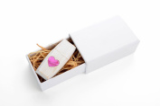 Wedding White 16GB USB 2.0 Flash Drive - Wildwood Body - Inlaid Mother of Pearl Love Heart Design - With Handmade Paperbox - Filled with Raffia Grass