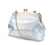 Hoxis Classical Kiss Lock Framed Faux Leather Clutch with Chain Starp Womens Shoulder Bag Purse Wallet