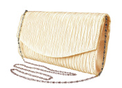 Peach Couture Womens Vintage Satin Pleated Envelope Evening Cocktail Wedding Party Handbag Clutch