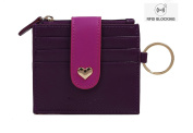 Ogem Womens and Girls Leather Peach Heart Thin and Fashion Card Wallet Useful Credit Card Wallets Small Compact Purse with Key Chain and Zipper