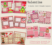 Valentine Scrapbook Kit - 5 Double Page Layouts