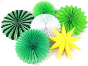 SUNBEAUTY Assorted Colour Tissue Paper Pinwheel Fans Collection Hanging Honeycomb Fans Decoration