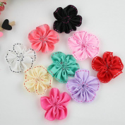 20Pcs Mixed Colours Flat-bottomed Beautiful DIY Handmade Decorative Wedding Flowers Candy-Coloured Gauze Roses Flowers for Hair Clips Scrapbooking and More Decoration,Edge Flowers 20 PCS