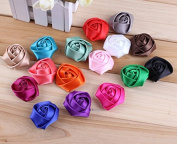Pack of 20PCS Mixed Colours Flat-bottomed Beautiful Bohemian Style DIY Handmade Decorative Chiffon Flowers with Pearl and Rhinestone for Hair Clips,Wedding Flowers(20Pcs) Rose Brooch