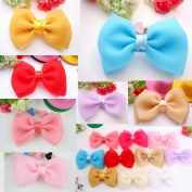 Pack of 10PCS Mixed Colours Flat-bottomed Bohemian Style DIY Decorative Chiffon Flowers Pearl for Hair Clips, Scrapbooking and More Decoration,Wedding Flowers,Bowknot 10 Pcs