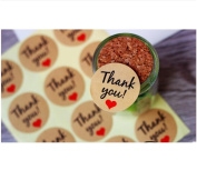 120 Pieces Thank You Kraft Paper Stickers Card Label Envelopes Stickers and Gift Packaging Bake Decoration Seal Stickers with Love Heart Shape and Red Hearts.