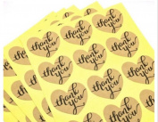 120 Pieces Love Heart Shape Thank You Kraft Paper Stickers Card Label Envelopes Stickers and Gift Packaging Bake Decoration Seal Stickers