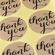 120 Pieces Thank You Round Kraft Paper Stickers Booking Labels Envelopes Stickers Gift Packaging Seal Stickers Tag Toppers