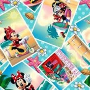 1/2 Yard - Minnie Summer Snapshots cotton fabric on a Blue and sea shells background - Officially Licenced (Great for Quilting, Sewing, Craft Projects, Throw Pillows & More) 1/2 Yard x 110cm