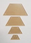 Half Hexagon Quilting Template Set, 10cm , 7.6cm , 5.1cm , 2.5cm with 0.6cm Seam Allowance