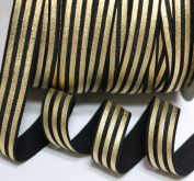 Top Hunter 1.5cm 10 Yds Soft Fold Over Elastic Gold Stripe Printed Stretch Ribbon FOE For Hair Tie Hair Band Headband Accessories,black