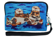 Wristlet Zip-top with Detachable Strap and Charm - Vegan - Wearcble Art - Animals - From My Paintings