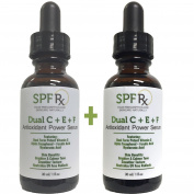 SPF Rx Dual C E Ferulic Acid Serum, an Antioxidant Power Serum with Potent Vitamin C, Alpha Tocopherol, Ferulic Acid, Hyaluronic Acid for Brighter, Calmer Tone, Smoother Texture, 30ml 2 pack