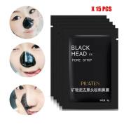 Kwok 2017 Women men Face Mask Blackhead Remover Black Mud Deep Cleansing Purifying Peel Acne Face Mask 15pcs/Set