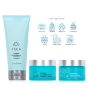TULA Skin Care Everyday Glowing Skin Hydration Kit with Probiotic Technology - Full-Sized Purifying Face Cleanser, Exfoliating Dual Phase Treatment Mask, and Hydrating Day & Night Cream