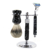 Three Piece Black Acrylic Deluxe Shaving Set