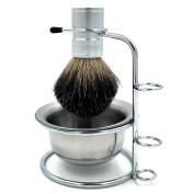 Genuine Badger Brush Anodizing Aluminium Alloy Brush Handle + Chrome Shaving Brush Stand Holder for Razor + Stainless Steel Mug/Bowl