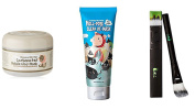 Elizavecca Milkypiggy Carbonated Bubble Clay Mask + Hell-Pore Clean Up Nose Mask + Pack Brush Total 3Pcs SET