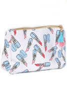 Lipstick Print Tassel Cosmetic Makeup Bag or Pouch Wallet