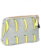 Striped Banana Print Tassel Cosmetic Makeup Bag or Pouch Wallet