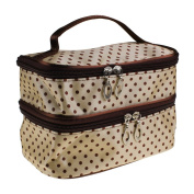 LQZ(TM) Portable Cosmetic Bag Double Layers Dots Patterns Travel Toiletry Bag Organiser With Mirror
