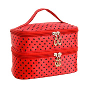 Multi-Use Cosmetic Bag Double Layer Toiletries Makup Travel Storage Organiser with Mirror - Red