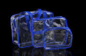 BeeChamp 3pcs Clear PVC Travel Toiletry Zipper Bags Cosmetic Makeup Storage Pouches, Blue