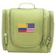 Travel Toiletry Bags Colombian American Half Colombia America Flag Washable Bathroom Storage Hanging Cosmetic/Grooming Bag For Household Business Vacation, Multi Compartments, Waterproof Lining