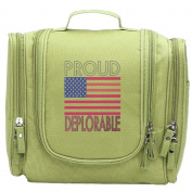 Travel Toiletry Bags PROUD DEPLORABLE USA FLAG Washable Bathroom Storage Hanging Cosmetic/Grooming Bag For Household Business Vacation, Multi Compartments, Waterproof Lining